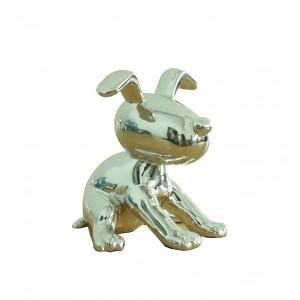 sculpture petit chien laqué argenté -   SILVER DOG