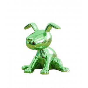 sculpture petit chien laqué vert emauraude -   GREEN DOG