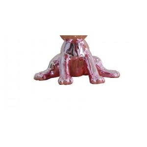Sculpture petit chien laqué rose  - SWEET DOG