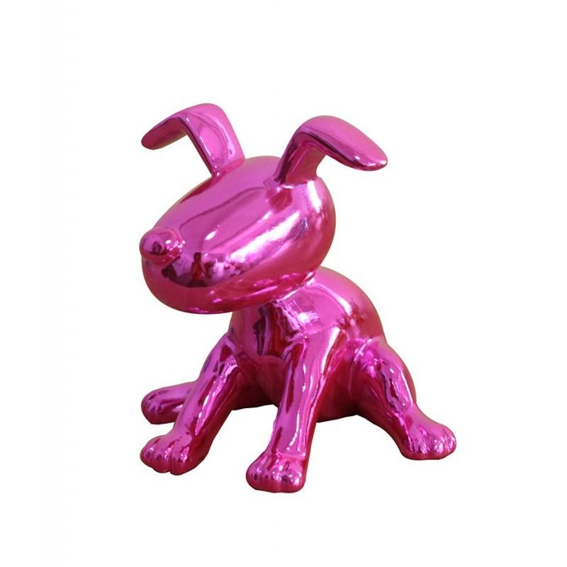Sculpture petit chien laqué rose fushia  -  PINK DOG