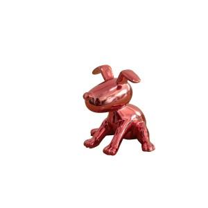 Sculpture petit chien laqué rouge acidulé  -  LOVE DOG
