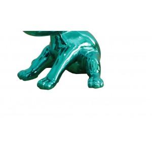 Sculpture petit chien laqué bleu vert - BLUE DOG