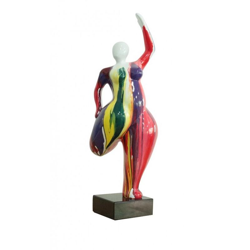 sculpture femme 60 cm posture yoga multicolore - statue décorative design contemporain  - LADY DANCE