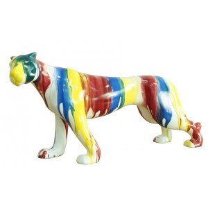 sculpture panthère 41 cm multicolore - statue décorative design contemporain  - PANTHERA