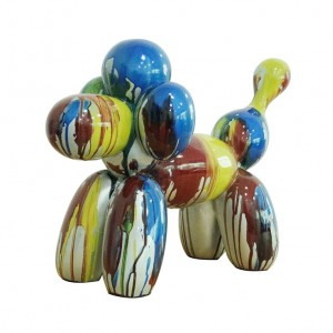 sculpture caniche baloon 45 cm multicolore  - statue décorative design contemporain abstrait - CANICHE ROYAL
