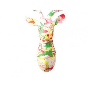 sculpture murale tête de Cerf 40 cm peinture laquée multicolore  - Trophée décoratif design contemporain abstrait - CERF