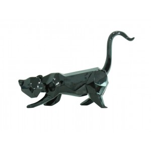 sculpture CHAT NOIR style cubique L. 43 cm  - BLACK CAT