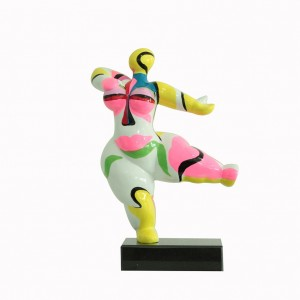 sculpture femme 33 cm danseuse multicolore style art surréalisme - statue décorative design contemporain abstrait  - LADY POP
