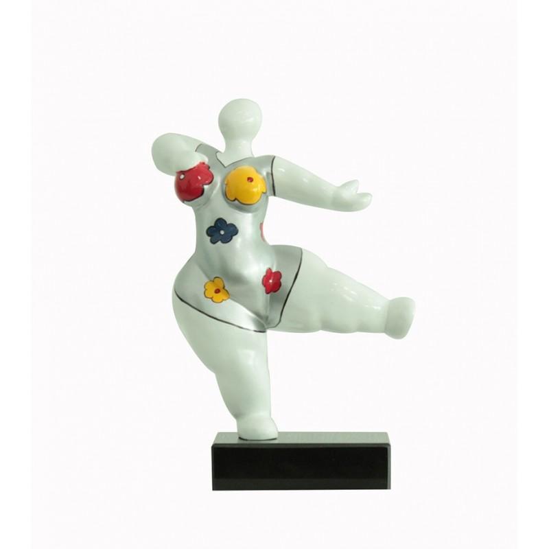 sculpture femme 33 cm danseuse maillot fleurs  - LADY FLOWER