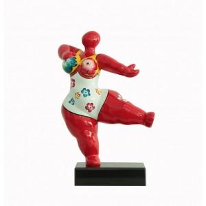 sculpture femme rouge 33 cm danseuse maillot fleuri - LADY RED