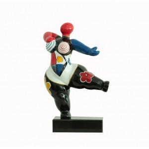 sculpture femme noire et rouge  33 cm danseuse motifs fleurs  - LADY STRIPE 02