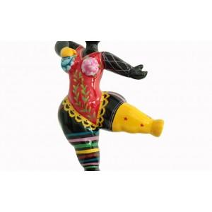 sculpture femme noire 33 cm danseuse maillot rouge dentelle multicolore - LADY DENTELLE