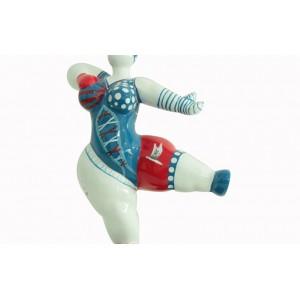 sculpture femme 33 cm danseuse pirate bleue et rouge - LADY PIRATE