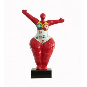 Sculpture Femme 34 cm Bras levées rouge Multicolore - Lady Sun red