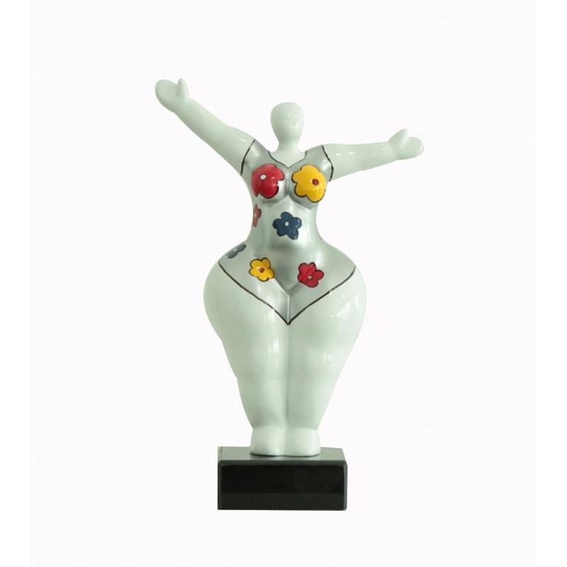 Sculpture Femme34 cm Bras levées fleur - Lady Sun flower