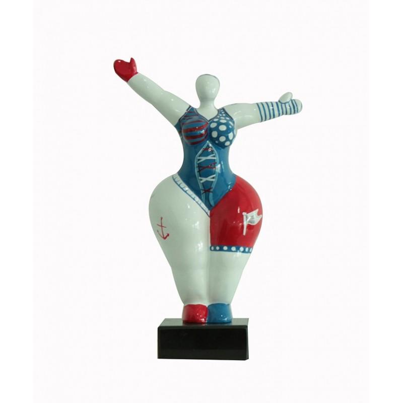 Sculpture Femme bleu et rouge 34 cm Bras levées - Lady Sun pirate