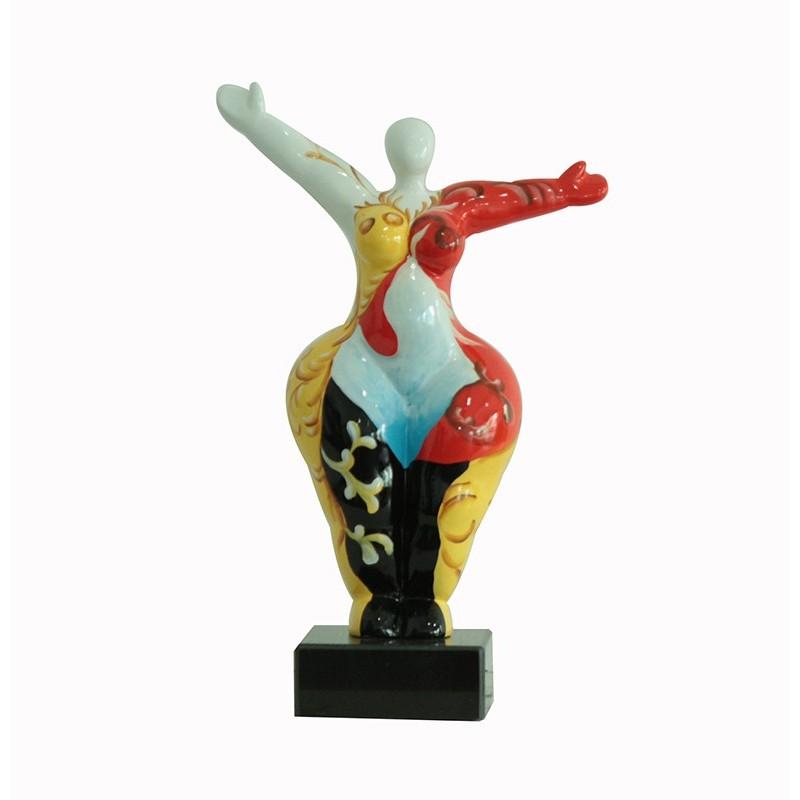 Sculpture Femme multicolore 34 cm Bras levées - Lady Sun Spain