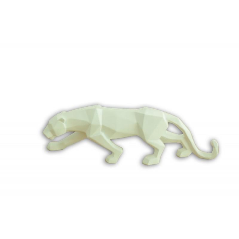 sculpture panthère blanche style géométrique - statue décorative design contemporain  - PANTHER