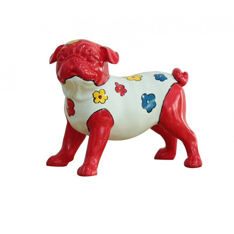 sculpture dog rouge et blanc motifs fleurs - DOG CARLIN