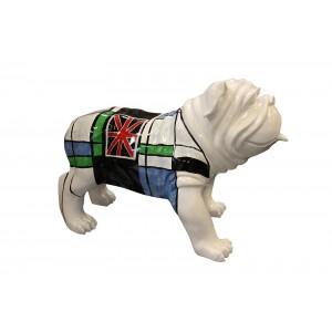 sculpture dog carreaux bleu vert et drapeau anglais - LORD DOG