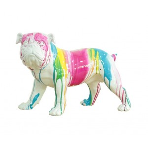 sculpture dog blanc décor peinture multicolore - COLOR DOG