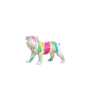 sculpture dog blanc décor peinture multicolore - COLOR DOG
