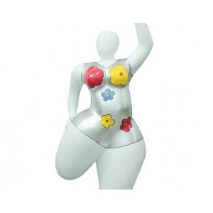 sculpture femme yoga H. 116 cm maillot fleurs - YOGA BIG LADY