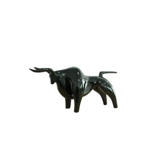 sculpture taureau noir L.68 cm - statue décorative design contemporain -BLACK TAURUS