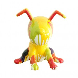 sculpture petit chien multicolore style abstrait - yellow DOG