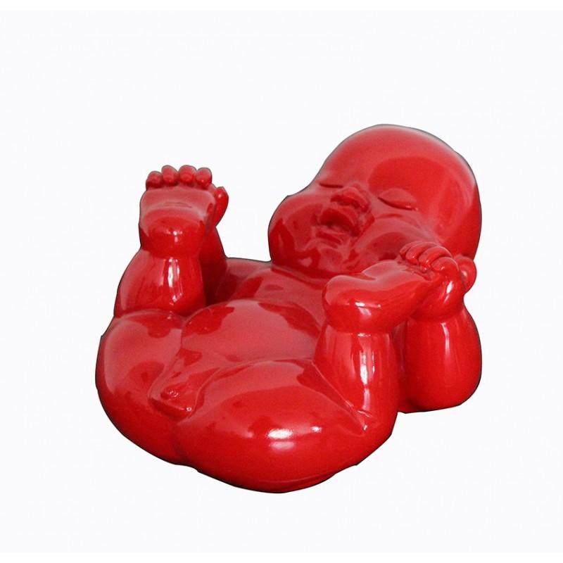 sculpture bouddha laquée rouge - bouddha ROUGE 02