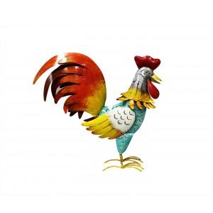 Photophore Coq en métal multicolore - objet décoratif artisanal à poser - COCORICO