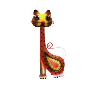 Chat en métal multicolore - objet décoratif artisanal à poser - FELIX le rouge