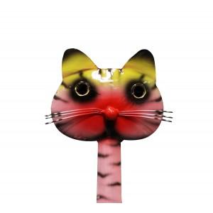 Chat en métal multicolore - objet décoratif artisanal à poser - FELIX le ROSE