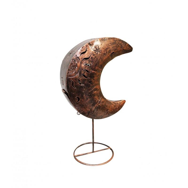 Photophore lune en métal cuivré - objet décoratif artisanal à poser - LUNA COOPER