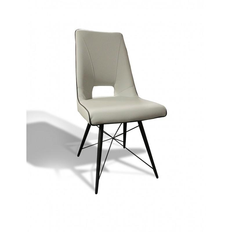 Chaise design moderne simili gris crème - piétement design acier noir - VOGUE
