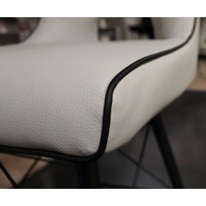 Tabouret de bar design moderne simili gris crème - piétement design acier noir - VOGUE