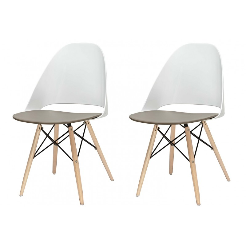 Lot 2 chaises blanches by Lodovico Bernardi - ANNIE