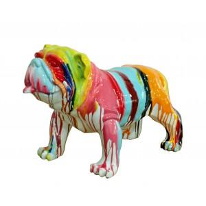 Chien bulldog figurine décorative - couleur laquée jets de peintures multicolores - objet design moderne