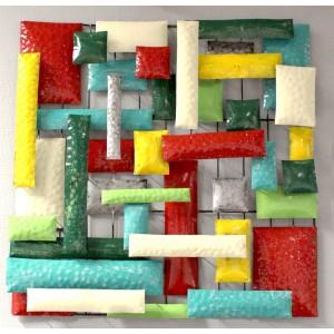 Décoration murale carrée 50 cm plaques multicolore en métal peint  - objet décoratif artisanal abstrait à suspendre - MIX /M