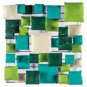 Décoration murale en métal peint vert/turquoise - objet décoratif artisanal à suspendre - GREEN BOARD /L