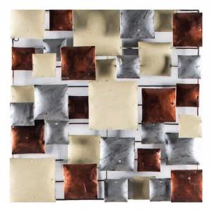 Décoration murale en métal peint argent/cuivre - objet décoratif artisanal à suspendre - COPPER BOARD /M