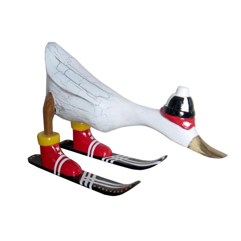 Canard BLANC skieur en teck massif - décoration sculpture bois Cosy & Authentique - DUCK SHUSS