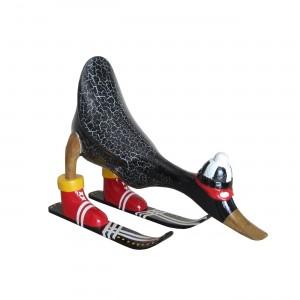 Canard noir skieur en teck massif - décoration sculpture bois Cosy & Authentique - DUCK SHUSS