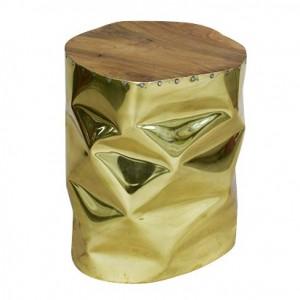 Tabouret/bout de canapé doré design en bois de teck et aluminium - style contemporain - STOOL gold