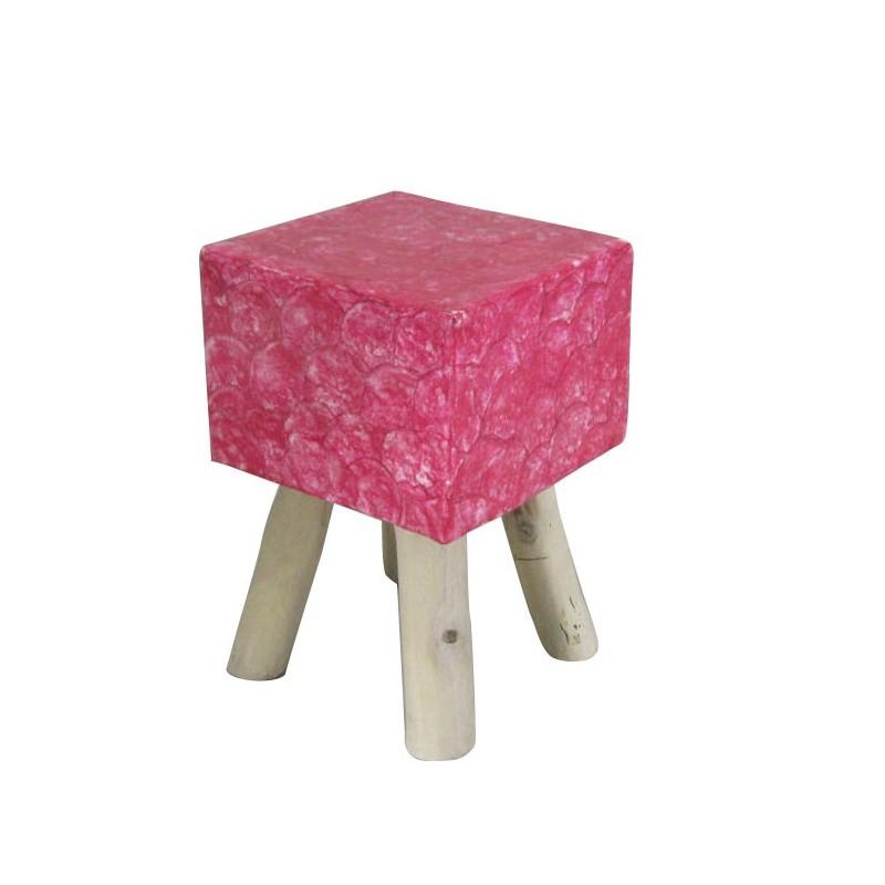 Tabouret rose carré 4 pieds en bois de teck et assise en nacre rose - style cosy scandinave - GOODY