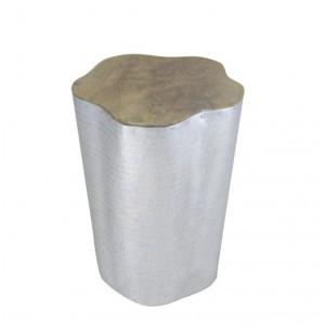 Tabouret tronc / bout de canapé argenté en bois de teck et tôle d'aluminium - style cosy scandinave bohème - TRUNK