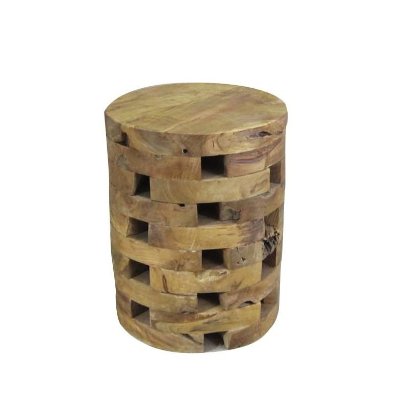 Tabouret  / bout de canapé rond en bois de teck naturel  - style cosy scandinave bohème - TECK