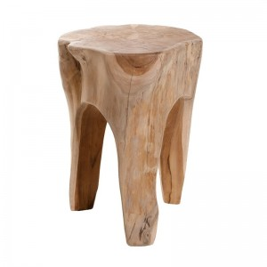 Tabouret tronc  / bout de canapé rond en bois de teck naturel  - style cosy bohème chalet chic - WOOD