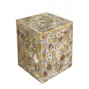 Tabouret / bout de canapé carré en bois de teck naturel  - style graphique cosy bohème chalet chic - CIRCLE