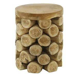 Tabouret / bout de canapé ROND en bois de teck naturel  - design cosy bohème chalet chic - ANANAS